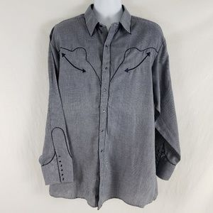 White Horse Shirt Western Pearl Snap Houndstooth